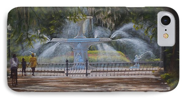 Forsyth Park Fountain Savannah Ga Phone Case by Alex Vishnevsky