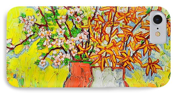 Forsythia And Cherry Blossoms Spring Flowers IPhone Case by Ana Maria Edulescu