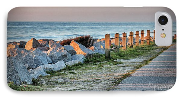 IPhone Case featuring the photograph Fort Fisher Rocks At  Sunrise by Phil Mancuso