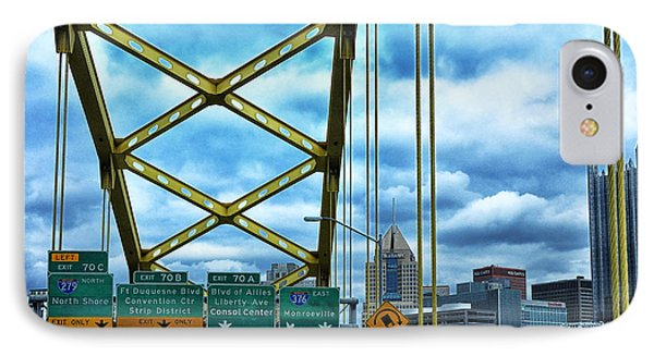 Fort Pitt Bridge And Downtown Pittsburgh Phone Case by Thomas R Fletcher
