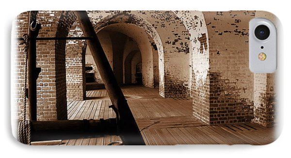 IPhone Case featuring the photograph Fort Pulaski Arches Sepia by Jacqueline M Lewis