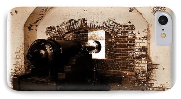 IPhone Case featuring the photograph Fort Pulaski Canon Sepia by Jacqueline M Lewis