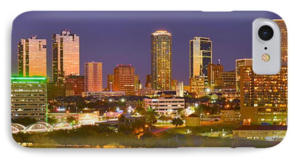 IPhone Case featuring the photograph Fort Worth Skyline At Night Color Evening Panorama Ft. Worth Texas by Jon Holiday