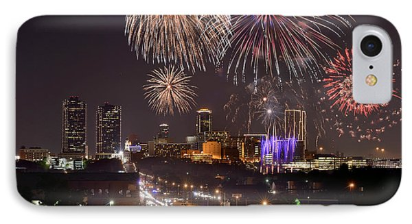 IPhone Case featuring the photograph Fort Worth Skyline At Night Fireworks Color Evening Ft. Worth Texas by Jon Holiday