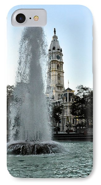 Fountain And Philadelphia City Hall Phone Case by Bill Cannon