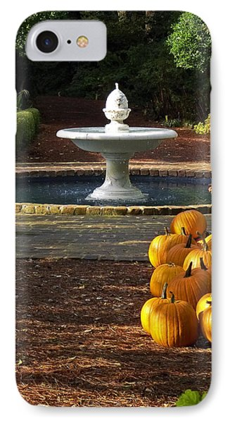 IPhone Case featuring the photograph Fountain And Pumpkins At The Elizabethan Gardens by Greg Reed
