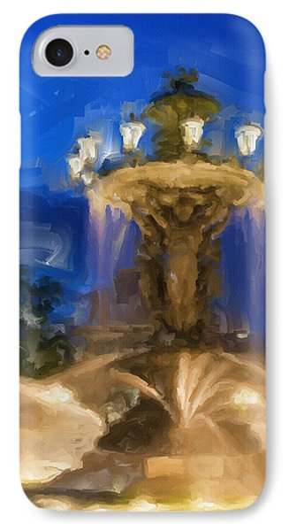 Fountain At Dusk IPhone Case by Ayse Deniz