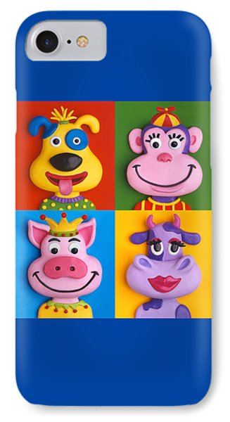 Four Animal Faces Phone Case by Amy Vangsgard
