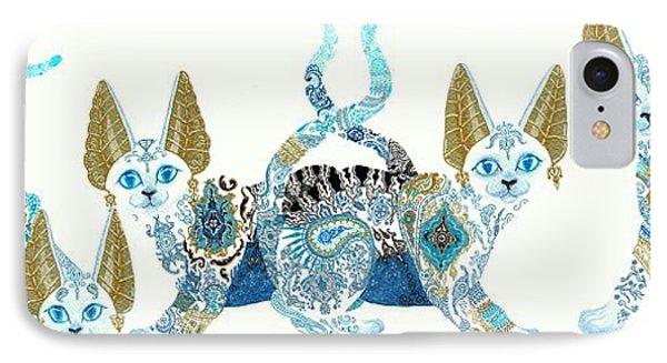 Four Asian Porcelain Cats IPhone Case
