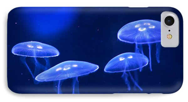 Four Blue Moon Jellyfish Phone Case by Artist and Photographer Laura Wrede