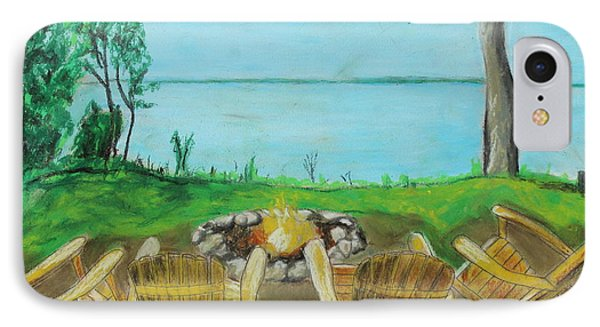 IPhone Case featuring the painting Four Chairs by Jeanne Fischer