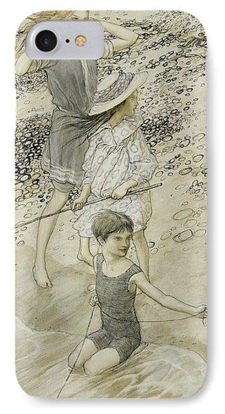Four Children At The Seashore Phone Case by Arthur Rackham