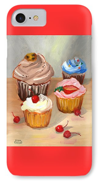 IPhone Case featuring the painting Four Cupcakes by Susan Thomas