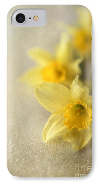 Four Daffodils On Beige Background IPhone Case