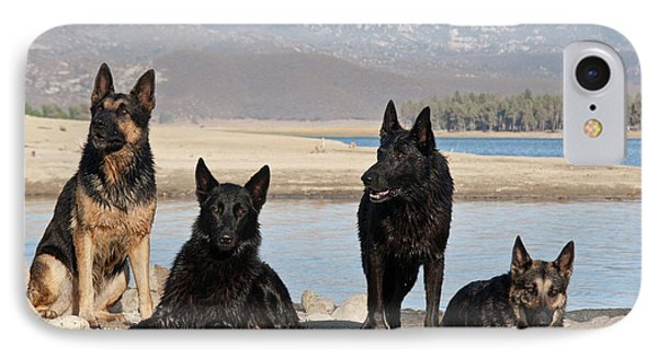 Four German Shepherds Together IPhone Case by Zandria Muench Beraldo