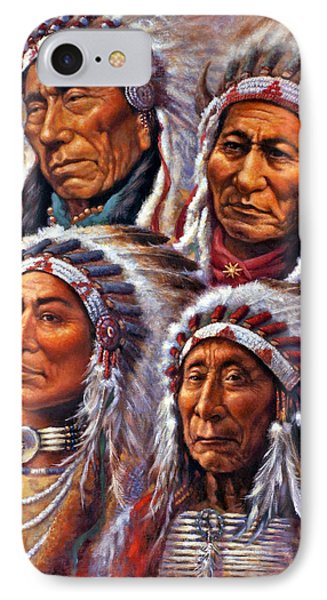 Four Great Lakota Leaders IPhone Case by Harvie Brown