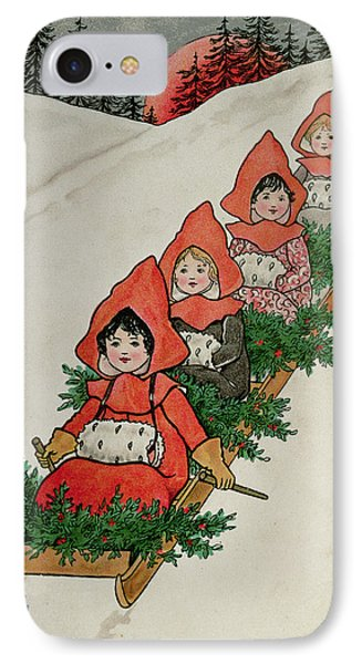 Four Little Girls On A Sledge  IPhone Case by Florence Hardy