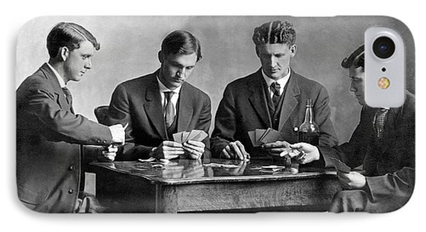 Four Men Playing Cards IPhone Case by Underwood Archives