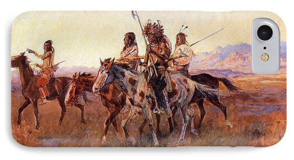 Four Mounted Indians Phone Case by Charles Russell