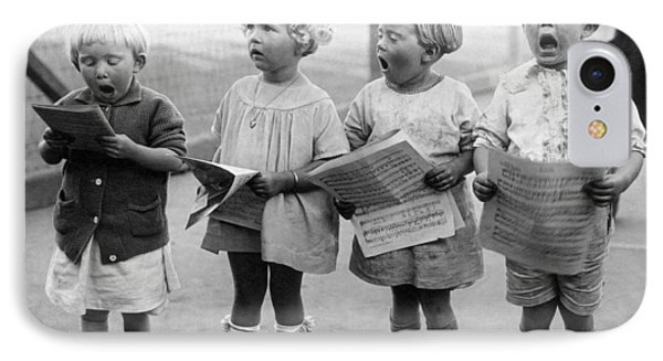 Four Young Children Singing IPhone Case by Underwood Archives