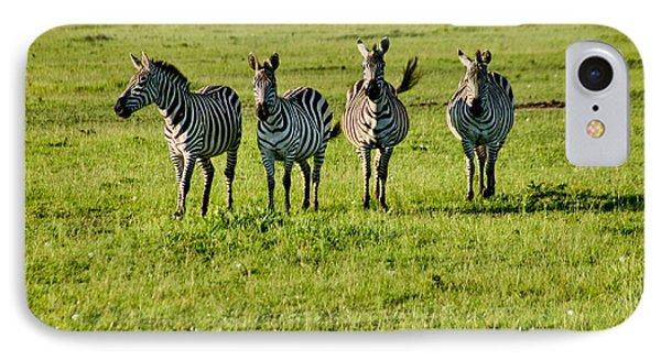 Four Zebras IPhone Case by Menachem Ganon