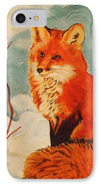IPhone Case featuring the painting Foxy Presence by Janet McDonald