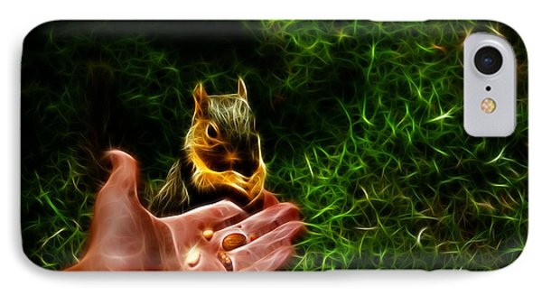 IPhone Case featuring the digital art Fractal - Feeding My Friend - Robbie The Squirrel by James Ahn