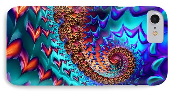 Fractal Sea Of Love With Hearts IPhone Case by Matthias Hauser