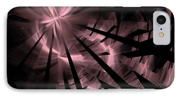 Fractured / Pink Lights At Night IPhone Case by Elizabeth McTaggart