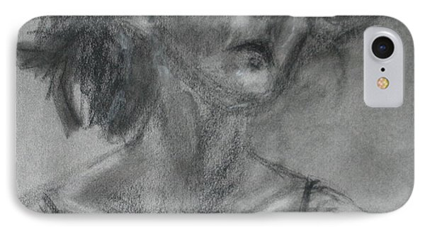 Gathering Strength - Original Charcoal Drawing - Contemporary Impressionist Art IPhone Case by Quin Sweetman