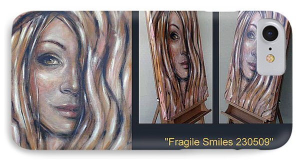 IPhone Case featuring the painting Fragile Smiles 230509 Comp by Selena Boron