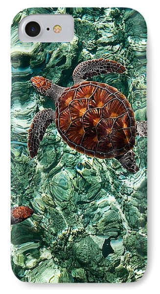 Fragile Underwater World. Sea Turtles In A Crystal Water. Maldives Phone Case by Jenny Rainbow