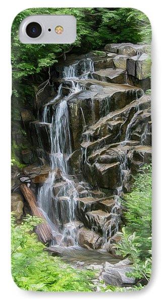 Framed Waterfalls On Mount Rainier Phone Case by John Haldane
