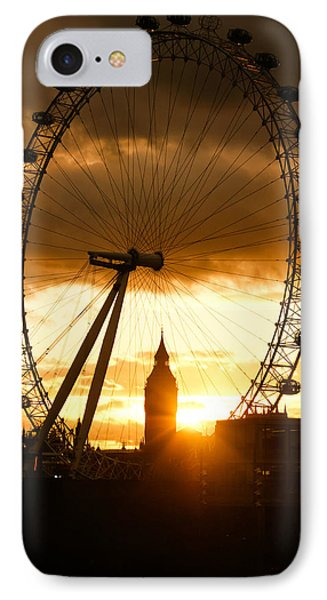Framing The Sunset In London - The London Eye And Big Ben  Phone Case by Georgia Mizuleva