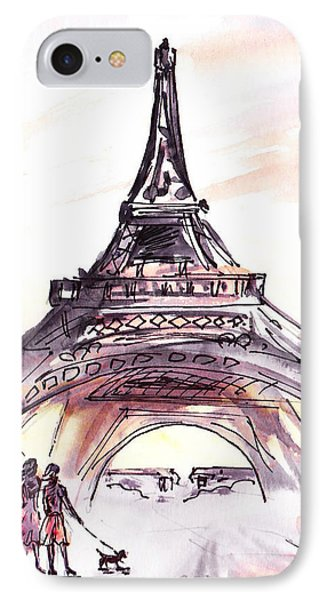France Sketches Walking To The Eiffel Tower IPhone Case