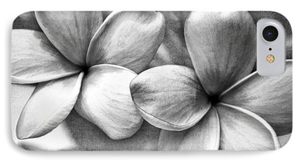 Frangipani In Black And White IPhone Case by Peggy Hughes