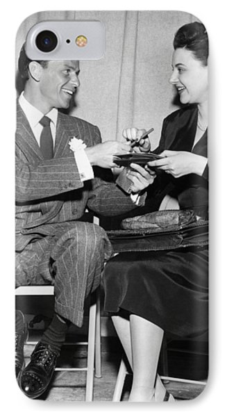 Frank Sinatra Signs For Fan IPhone Case by Underwood Archives