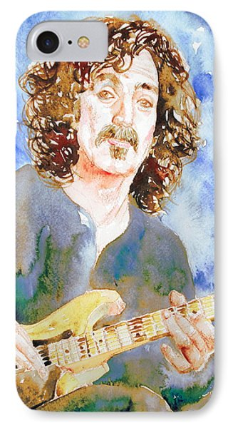 Frank Zappa Playing The Guitar Watercolor Portrait Phone Case by Fabrizio Cassetta