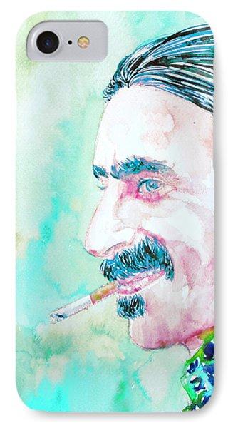 Frank Zappa Smoking A Cigarette Watercolor Portrait Phone Case by Fabrizio Cassetta