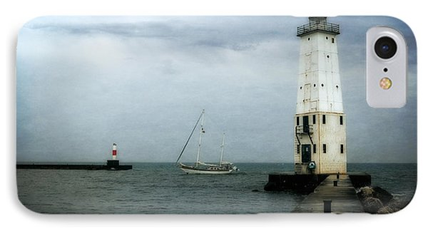 Frankfort Lighthouse With Sailboat IPhone Case by Michelle Calkins
