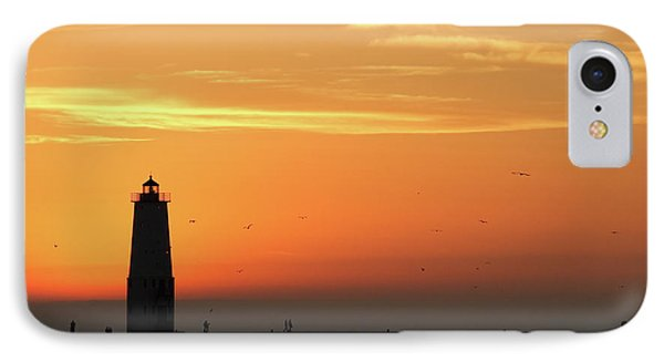Frankfort North Breakwater Lighthouse IPhone Case by Adam Romanowicz