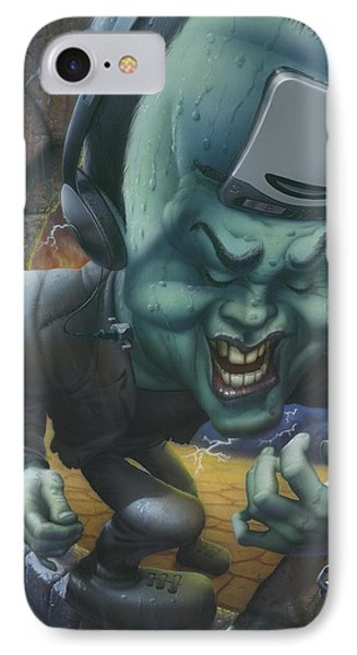 Frankinstein Playing The Air Guitar - Parody - Illustration - Monster Monsters - Humorous IPhone Case