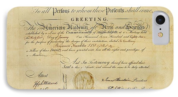 Franklin Membership Certificate IPhone Case by American Philosophical Society