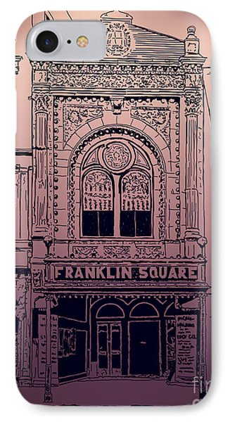 IPhone Case featuring the drawing Franklin Square Theatre by Megan Dirsa-DuBois