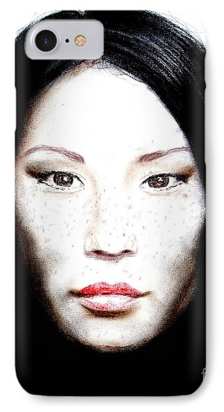 Freckle Faced Beauty Lucy Liu  II Phone Case by Jim Fitzpatrick