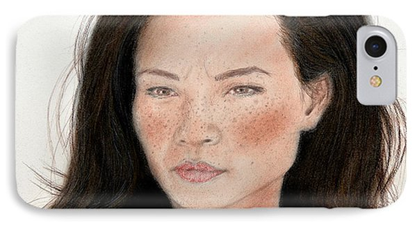 Freckle Faced Beauty Lucy Liu Remake Phone Case by Jim Fitzpatrick