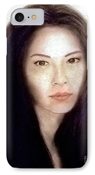 Freckled Faced Beauty Lucy Liu  Phone Case by Jim Fitzpatrick