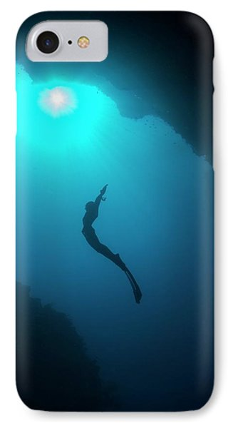 Free Diver In Mouth Of Cave IPhone Case by Scubazoo