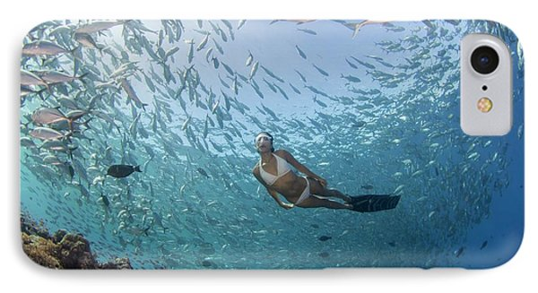 Free Diver In School Of Fish IPhone Case by Scubazoo