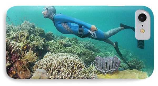 Free Diver Swimming Over Coral Reef IPhone Case by Scubazoo